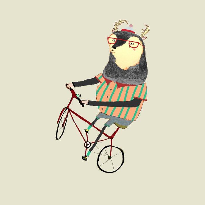 Deer on Bike.  Duvet Cover