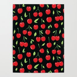 Cheerful cherry pattern. Colorful cherries on black Poster