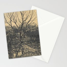 Old tree and stream with a ferry Stationery Cards