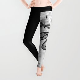Bold black and white embroidered dragonflies on texture Leggings