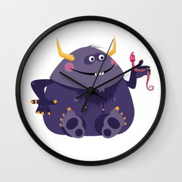 Big purple monster and his little friend Wall Clock