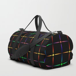 Neon diamonds. Pattern or background of multicolored neon stars on a black background Duffle Bag