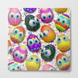 Cute Easter Eggs Cartoon 3d Pattern Metal Print