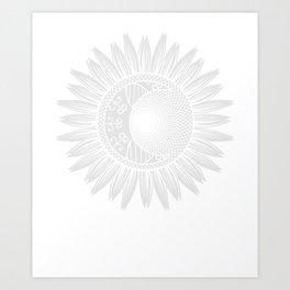 Moon And Sun Inside Sunflower T-Shirt Art Print