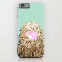 Puli Dog with Bubble Gum in Green iPhone Case