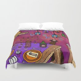 Autumn Table in Candlelight Duvet Cover