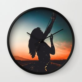 WOMAN - SUNRISE - SUNSET - LIGHTS - PHOTOGRAPHY Wall Clock