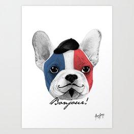French Bulldog says bonjour - ALT Art Print