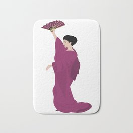 Woman in kimono Bath Mat