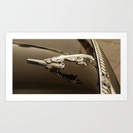 Jaguar Sepia Hood Ornament Art Print