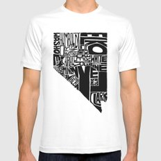 Typographic Nevada White Mens Fitted Tee MEDIUM
