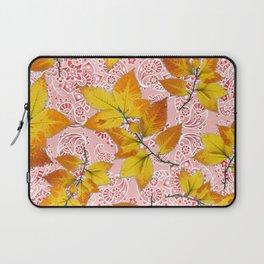 Pink Paisley Autumn Leaves Laptop Sleeve
