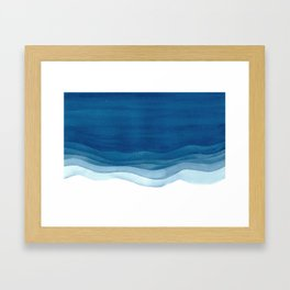 Watercolor blue waves Framed Art Print