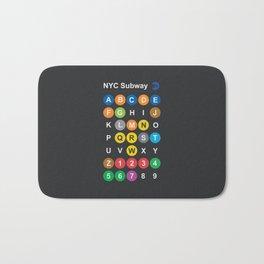 New York City subway alphabet map, NYC, lettering illustration, dark version, usa typography Bath Mat
