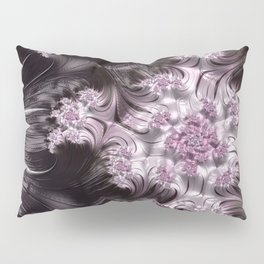 Pretty Pink, Gray and Black Mandelbrot Set Fractal Art Pillow Sham
