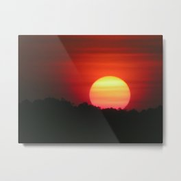 Dramatic Sunset over the Forest Metal Print
