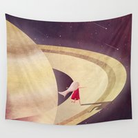 saturn Wall Tapestries featuring Saturn Child by Annisa Tiara Utami