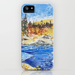 Landscape painting- The clear water River - by LiliFlore iPhone Case