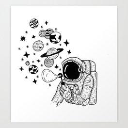 Astronaut Blowing Bubbles Art Print