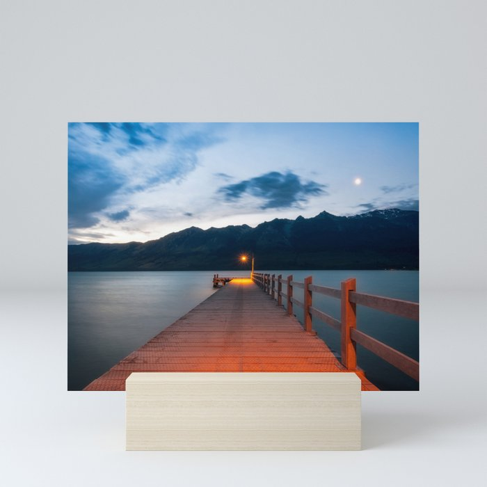 Moon rising at Glenorchy wharf, NZ Mini Art Print