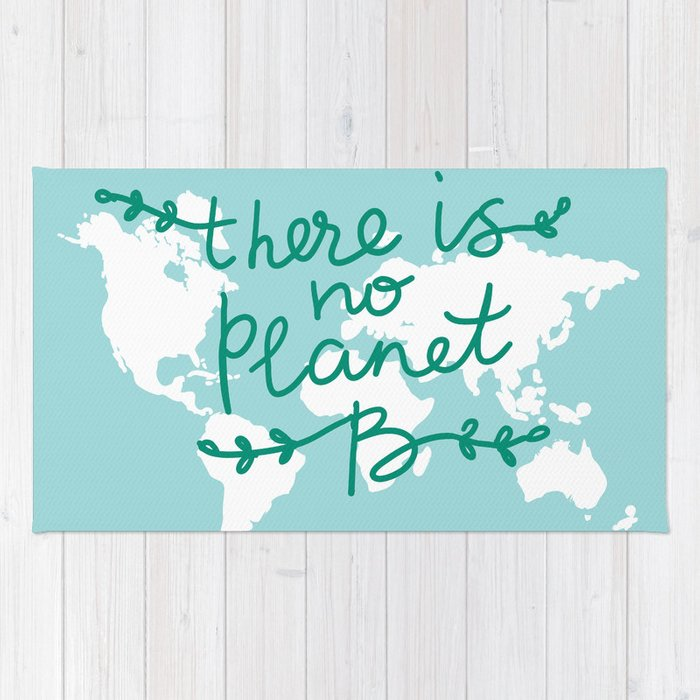 There Is No Planet B World Map White Silhouettes Of Continents On