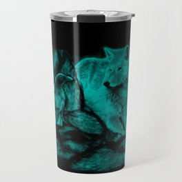 Wolf and Raven in the Night Travel Mug