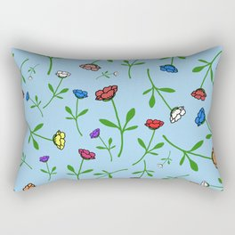 Colorful Flower Toss Rectangular Pillow