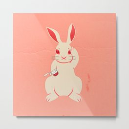 Not so lucky white rabbit Metal Print