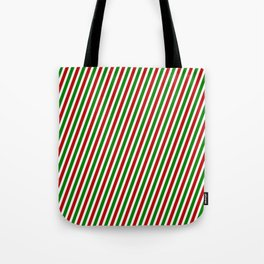 Christmas-Inspired Red, White, and Green Colored Pattern of Stripes Tote Bag