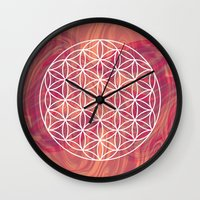 flower of life Wall Clocks featuring Life Flower by shutupbek