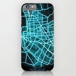Baton Rouge, LA, USA, Blue, White, Neon, Glow, City, Map iPhone Case