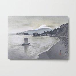 Fishing boat and Mount Fuji Metal Print