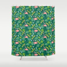 Fruity Flamingo - Green Shower Curtain