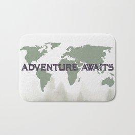 Adventure Awaits Morning Forest Green Map Bath Mat