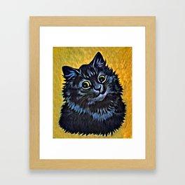 Louis Wain's Cats - Black Cat Framed Art Print