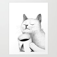 coffe Art Prints featuring Coffe & Cat by Sungwon