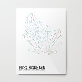 Pico Mountain, VT - Minimalist Trail Map Metal Print