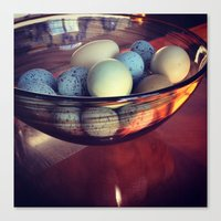 eggs Canvas Prints featuring Eggs by Yellow Barn Studio