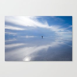Car in Salar de Uyuni desert, Bolivia Canvas Print