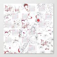 calendar Canvas Prints featuring Calendar mess by Dreamy Me