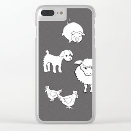 The Little Farm Animals, white on spotted grey Clear iPhone Case