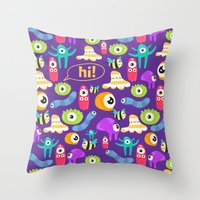 monsters Throw Pillows featuring monsters by Ceren Aksu Dikenci
