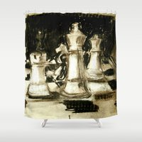 chess Shower Curtains featuring Chess by James Peart