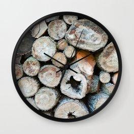 Rustic Beige Brown Logs on Woodpile Wall Clock