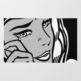 Crying-Girl02 B&W Rug