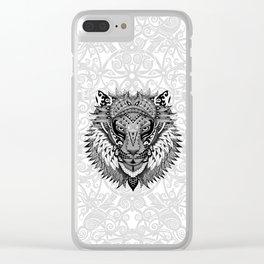 lion aztec art pattern Clear iPhone Case