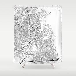 Copenhagen Map White Shower Curtain