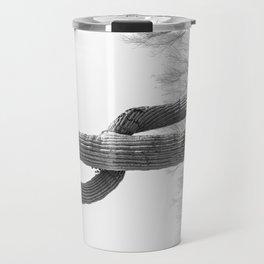 Dollar Saguaro, Black and White Desert Cactus Art by Murray Bolesta Travel Mug