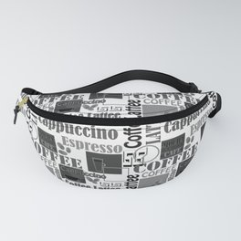 """Black and white pattern. """"Favourite coffee """" Fanny Pack"""