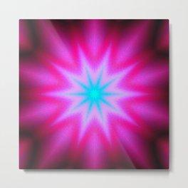 Hot Pink Blue Starburst Metal Print